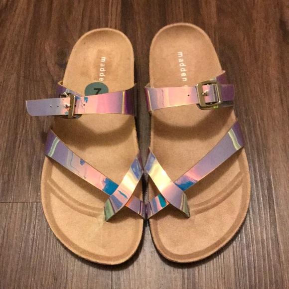 accda57cf54 New Madden Girl Metallic Slip-On Sandals